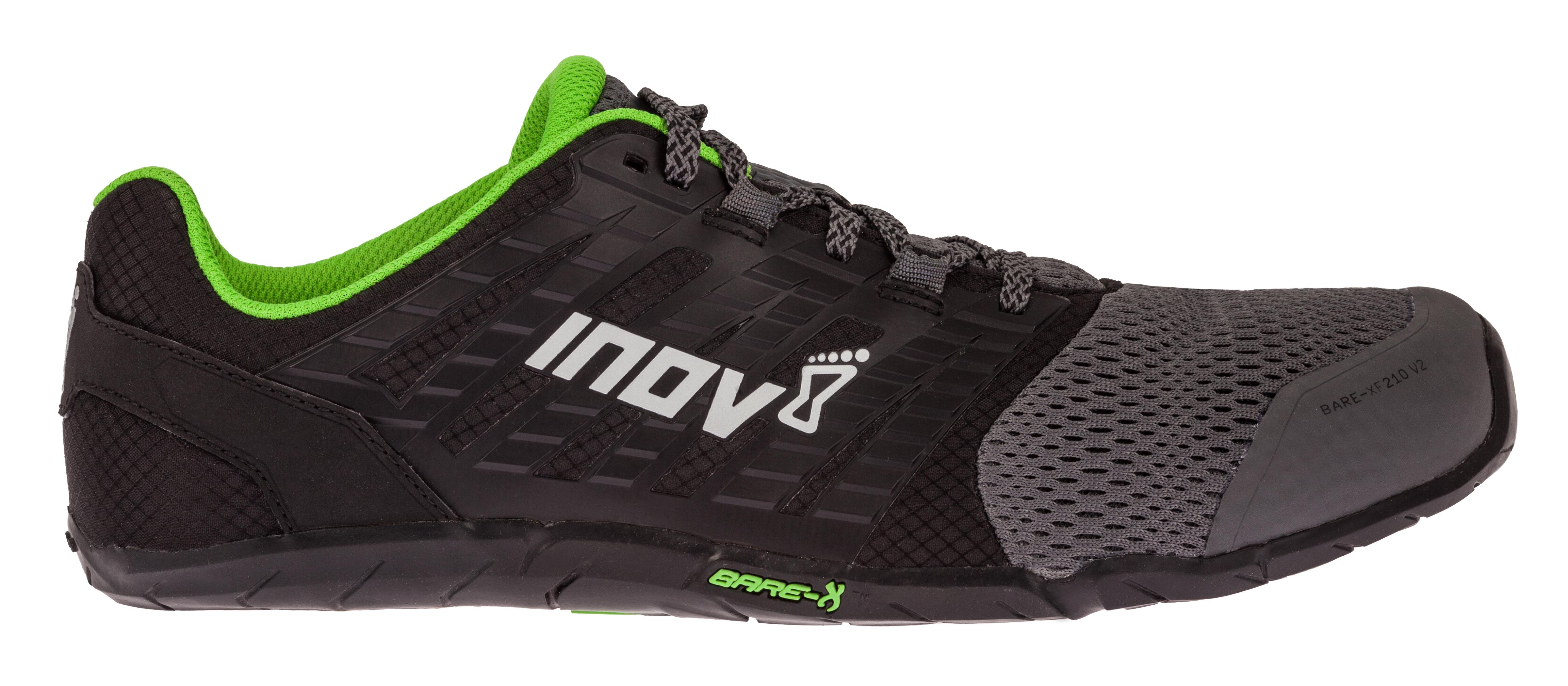 Inov-8 Bare XF 210 V2 Fitness Schoenen Heren - Grijs / Zwart / Groen - 10.5 thumbnail
