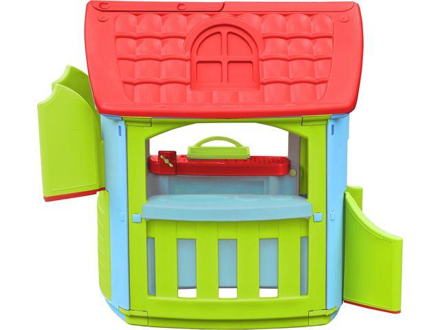 Speelhuis Hobby rood-groen-blauw