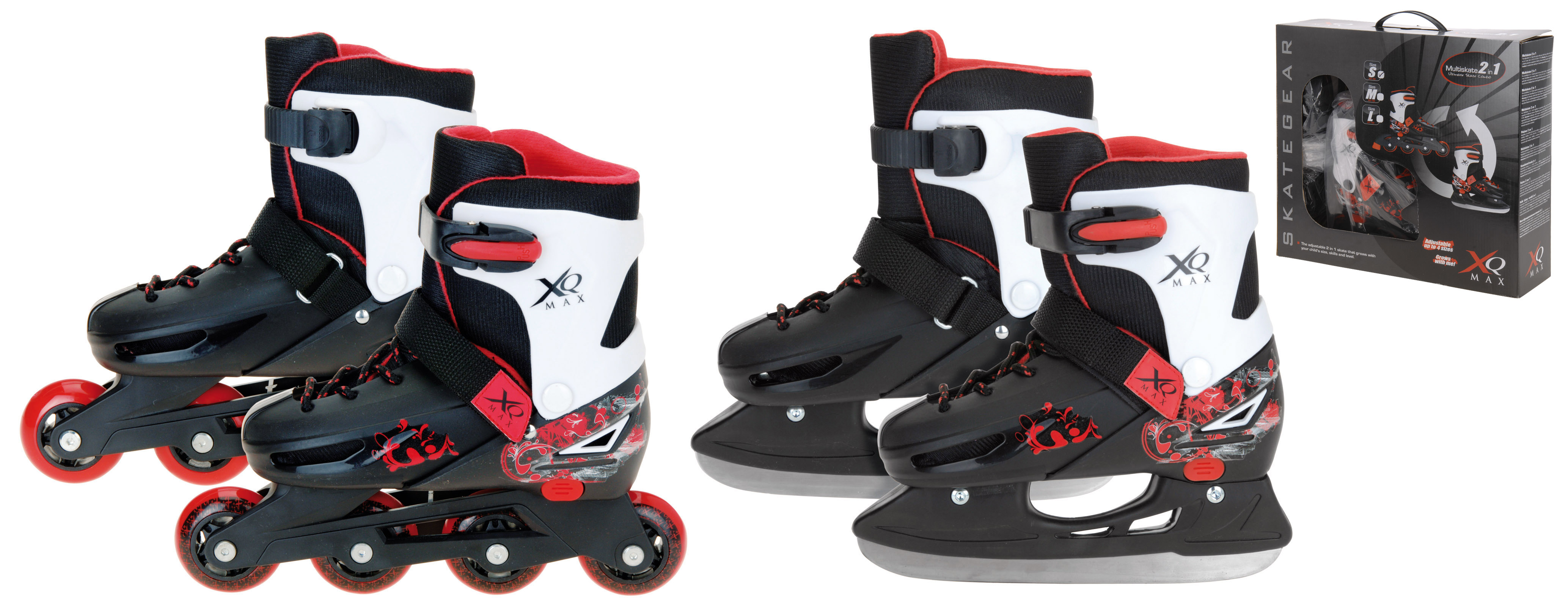 Image of   XQ Max 2 in 1 Skate (Inline and Ice Skates) - Black / White / Red - 29-32