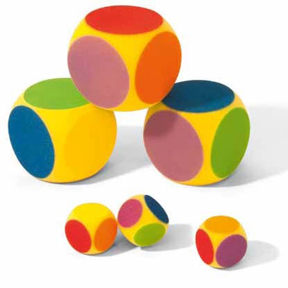 Image of   Volley 6 Farver Foam Dice - 70 mm - 8 g