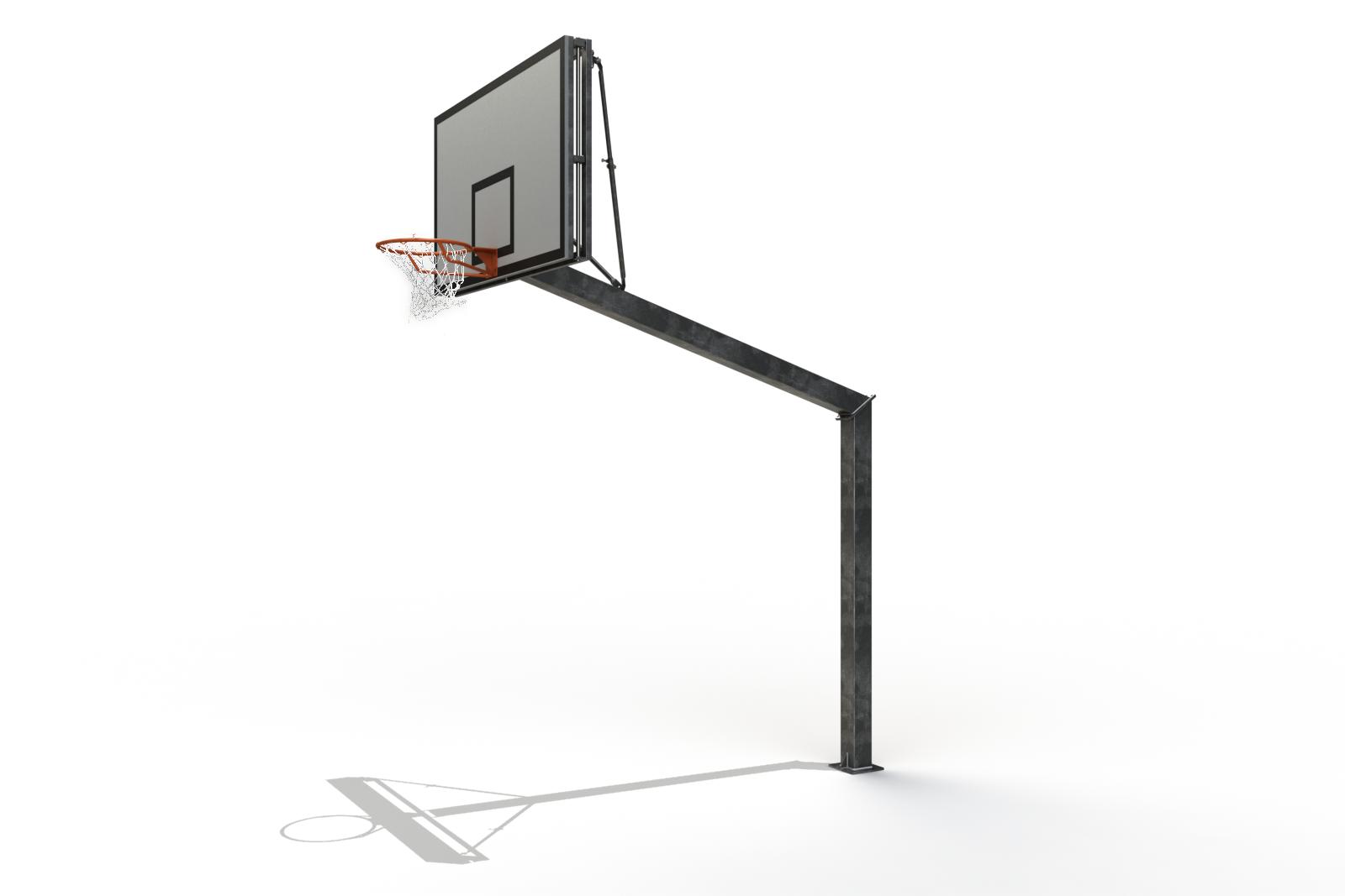 Image of   Basketball Goal Galvaniseret Justerbar 2,6 - 3,05 m - Monteringsplade - Udhæng 2,25 m