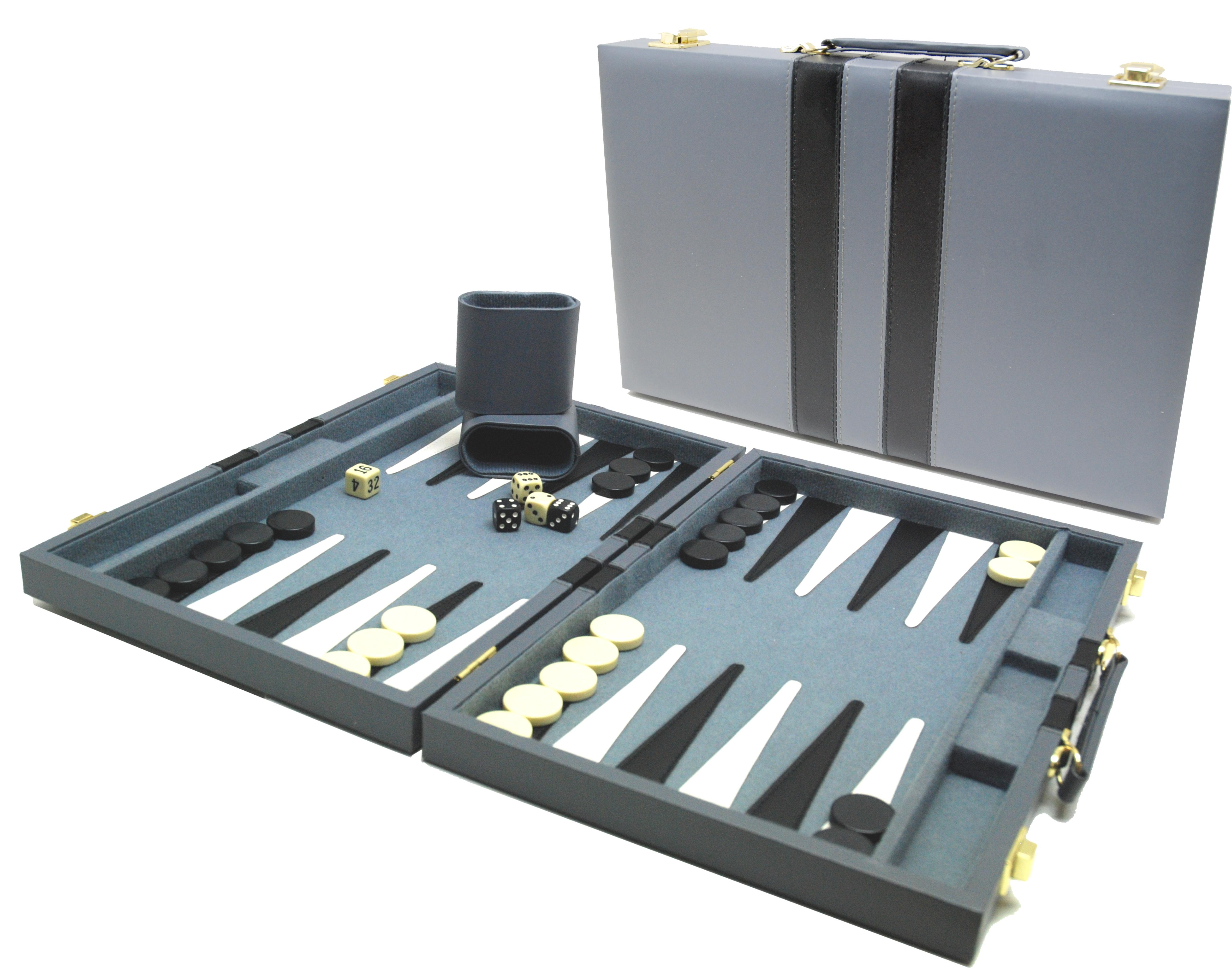 Image of   Backgammon Case - Grå - 38 x 24 cm