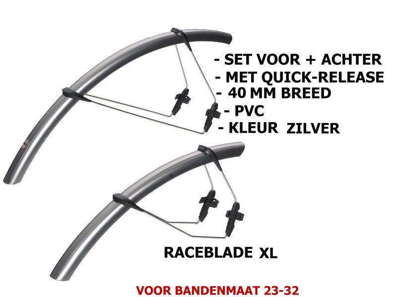 SKS Spatbord Set Raceblade XL - 25-32mm Breed - Zilver thumbnail