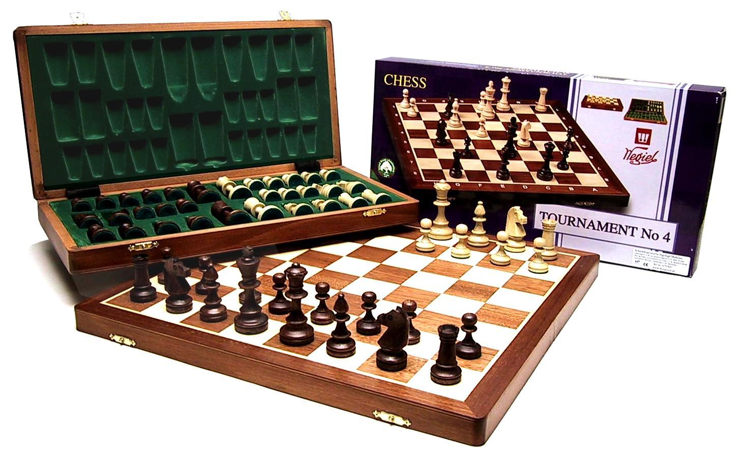 Ajedrez casete Tournament 6 Caoba / ceniza de madera de 54 x 27 cm