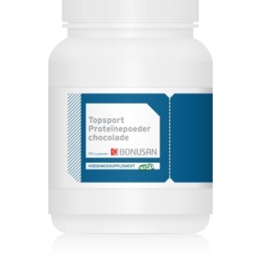 Image of   Bonusan Topsport proteinpulver - Chokolade - 750 g
