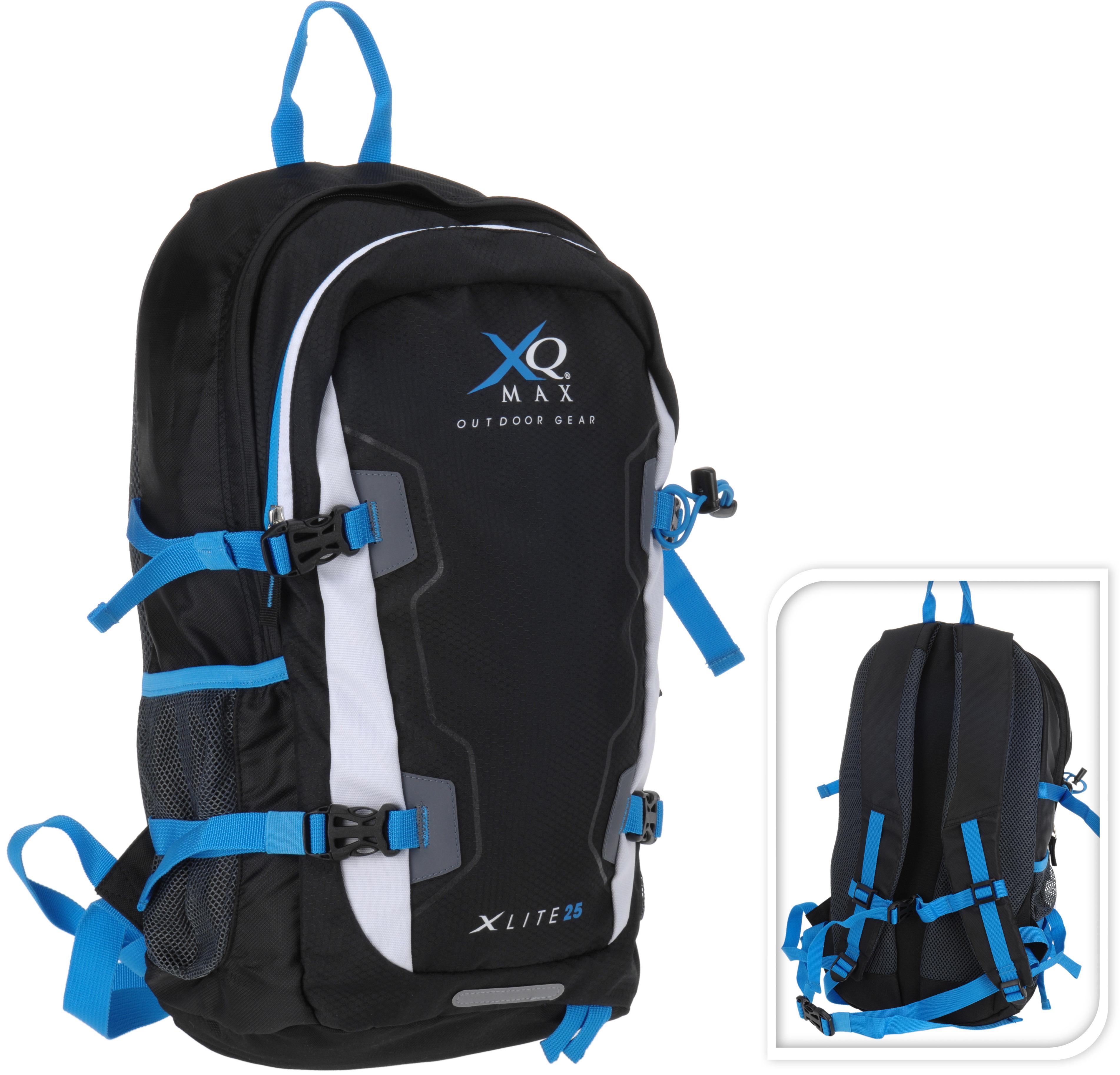 Xq max rugzak x lite 25 zwart. volume 25 liter. gewicht 0.49kg. grootte 49x24x11cm. schuimrubber/airmesh ...