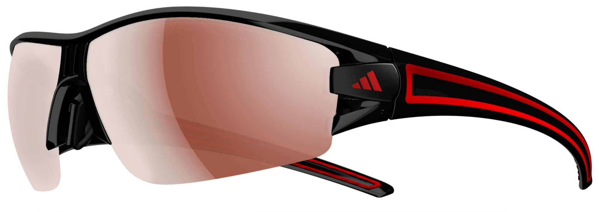 Image of   Adidas Eyewear Evil Eye Halfrim Solbriller - Shiny Sort / Rød