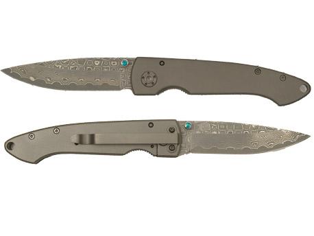 Image of   Adola Opaal Pocket Knife Titanium Damast PE