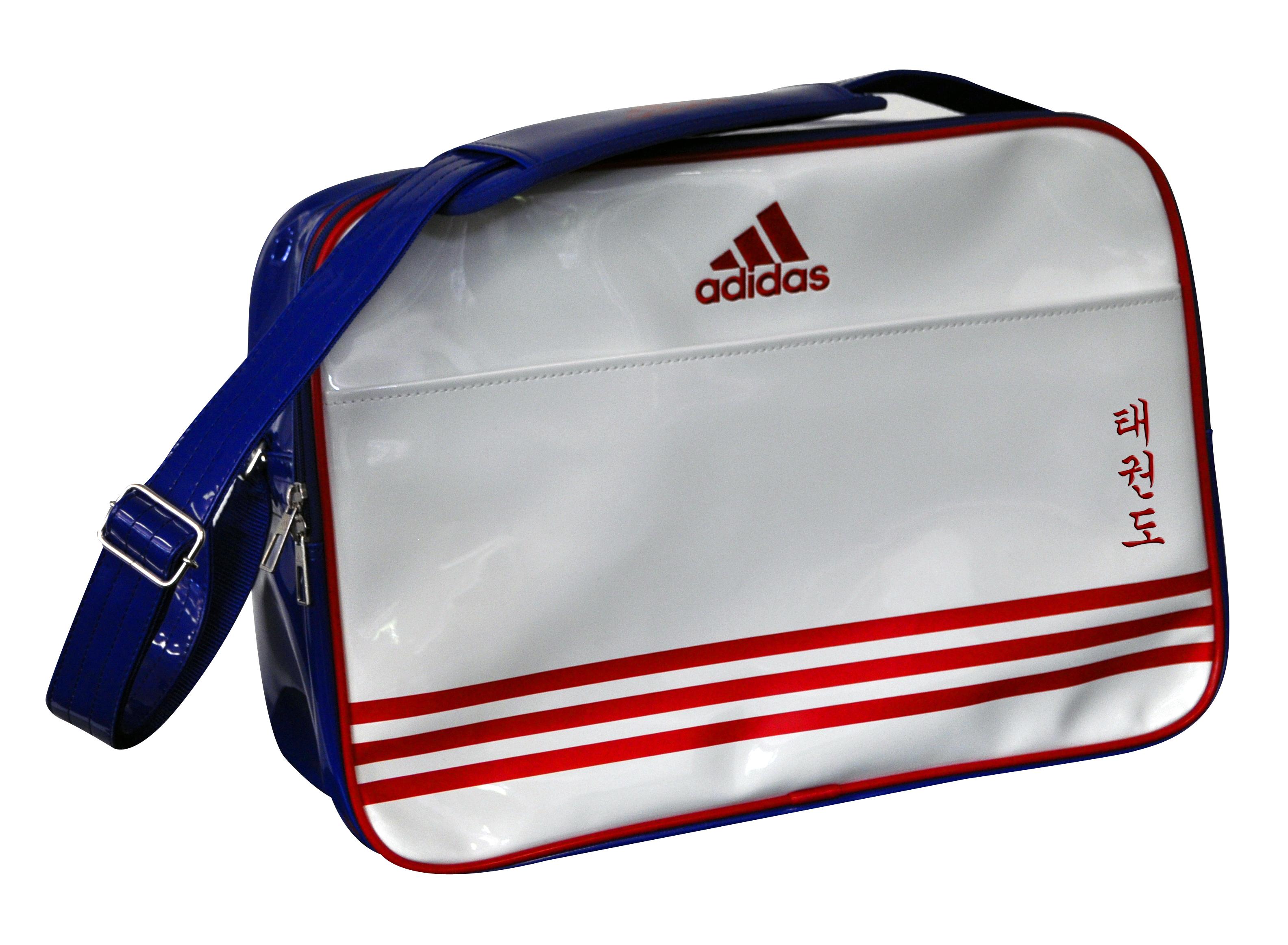 Image of   Adidas Retro Taekwondo Sports taske - 46 x 32 x 19 cm - Hvid / Blå