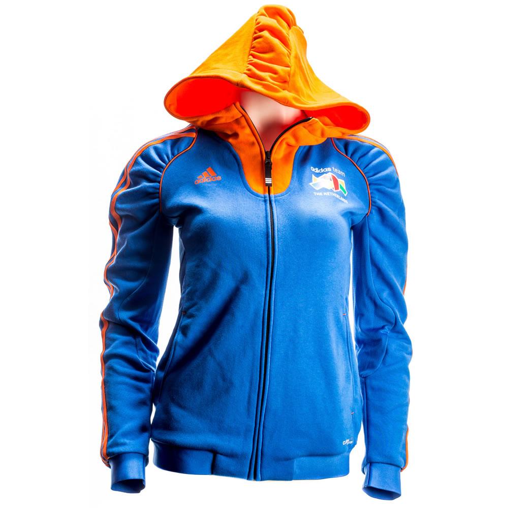 Billede af Adidas Team Netherlands Hoodie - Kvinder - Orange / Blå - 36