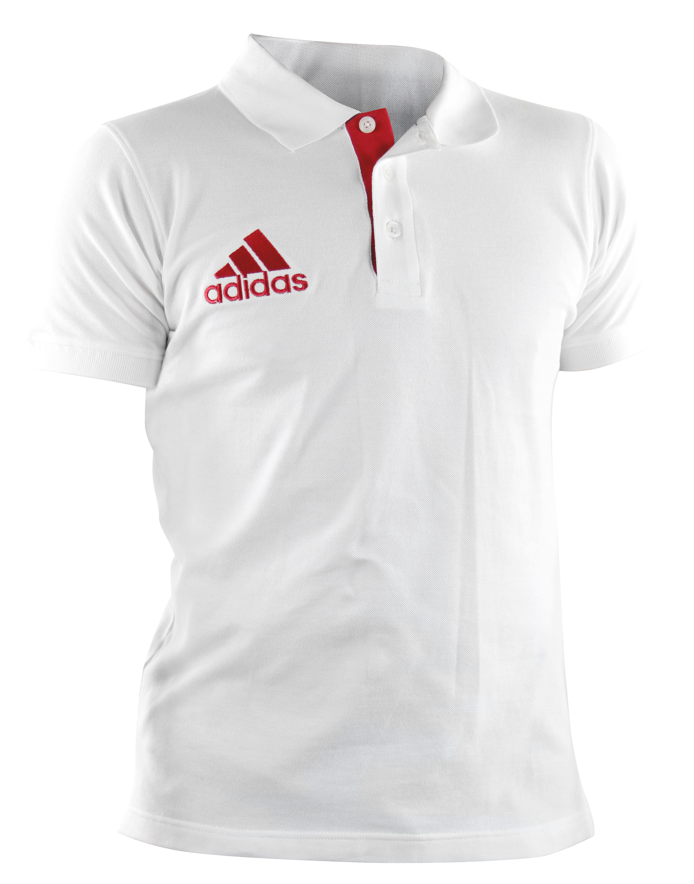 Image of   Adidas Pique Polo Shirt - Mænd - Hvid / Rød