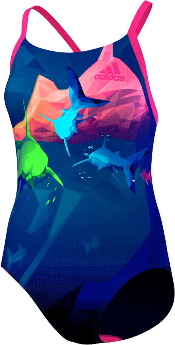 Adidas Graphic Swimsuit - Women - Unity Ink / Shock Pink - 36