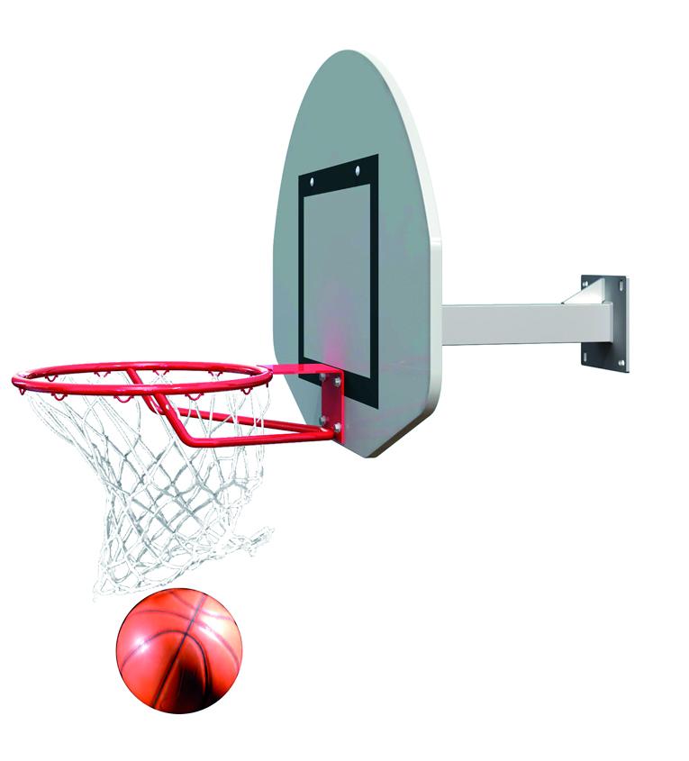Image of   Basketball Goal Wall-Mounted - Fast head - Udhæng 0,6 m - 1 arm lige støtte