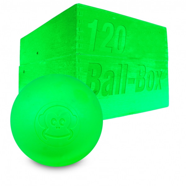 Image of   Captain LAX Lacrosse Ball Box 120 stk. - Neon Lime