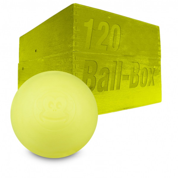 Image of   Captain LAX Lacrosse Ball Box 120 stk. - Neon Gul