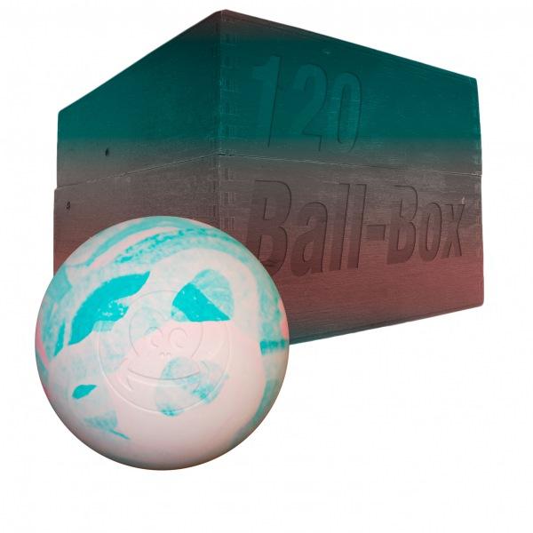 Image of   Captain LAX Lacrosse Ball Box 120 stk. - Rød / Hvid / Grøn