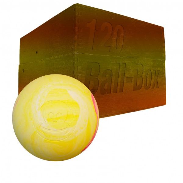 Image of   Captain LAX Lacrosse Ball Box 120 stk. - Rød / Hvid / Gul