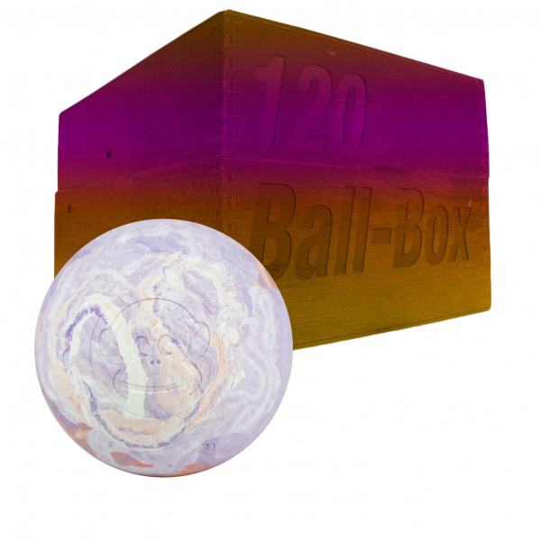 Image of   Captain LAX Lacrosse Ball Box 120 stk. - Hvid / Lilla / Orange