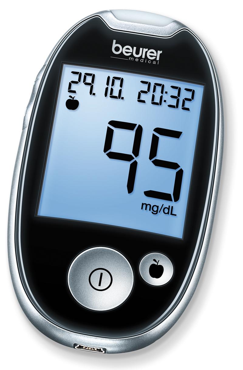Beurer GL44 Glucosemeter BE (mg/dL)  - Zwart
