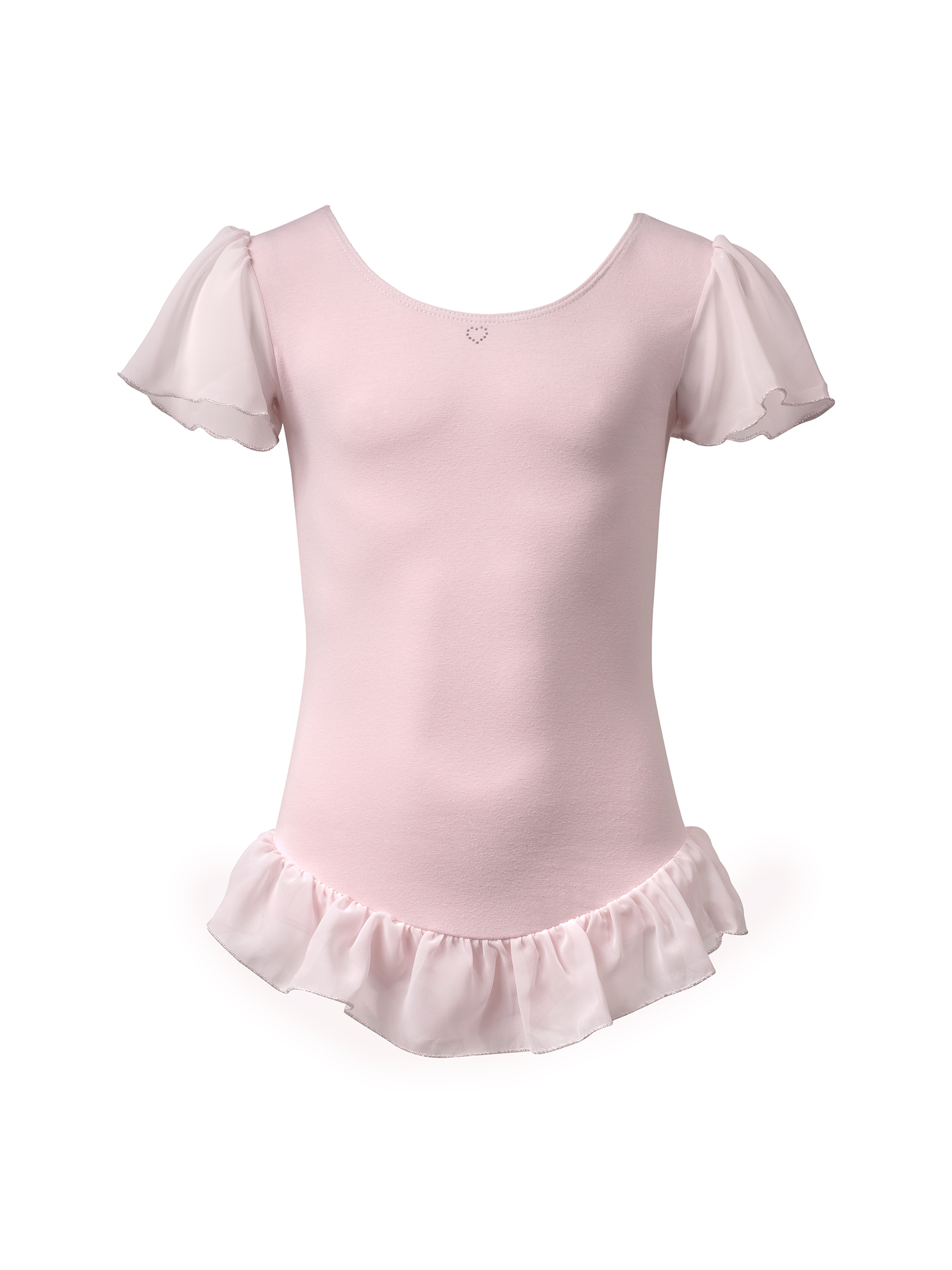 Image of   Papillon Leotard voile frill little heart cotton Girls - Pink - 12