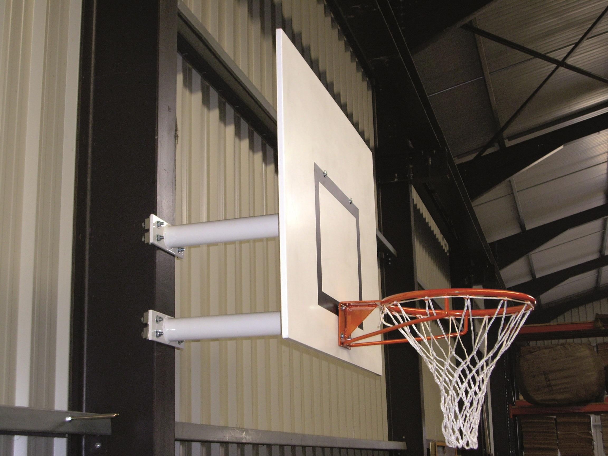 Image of   Basketball Goal Wall-Mounted - Fast head - Udhæng 0,6 m - 2 arm lige støtte