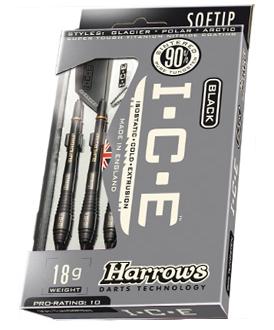 Harrows Black Ice Arctic 90% Tungsten Softtip 18 Gr - Zwart - Dartpijlen