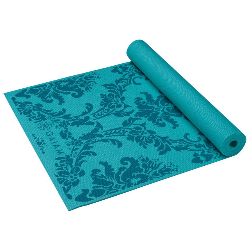 gaiam neo-baroque print yogamat - 3 mm - blauw kopen - justathlete.nl