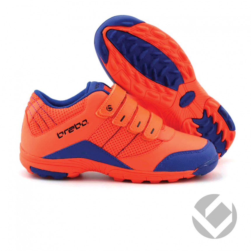 44f290ce1b0 Brabo Klittenband Hockey Schoenen Junior - Neon Oranje / Royal Blauw ...