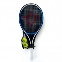 Tennisracket met Hoes en 2 Ballen - Blauw