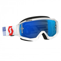 Scott Hustle Mx Crossbril - Wit / Rood - Electric Blauw Chrome