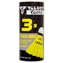 Talbot Torro Tech 350 Badminton Shuttles - Geel - Slow - 3 pcs