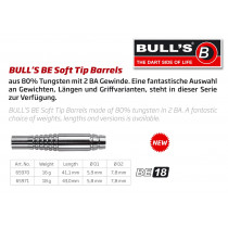 Bull's BE-18 Soft Tips Darts Barrels - 80% Wolfraam