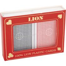 Speelkaartenset Lion 100% Plastic Duobox