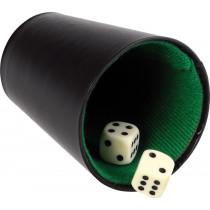 Longfield Pokerbeker Kunstleer Zwart - 9 Cm