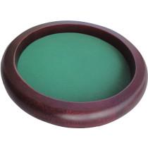 Dobbelpiste bruin hout rond 35 cm Groen vilt