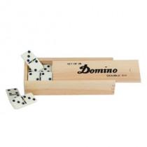 Longfield Dominospel dubbel 6 Klein in houten kist