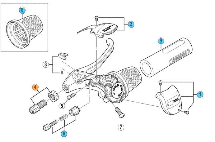 Shimano nexus 8 twister shifter kabelstelbout   details:     shimano groepscode: sg8  shimano modelcode: ...