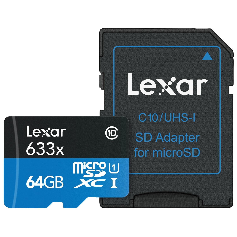 Image of   Lexar 64GB 633X UHS-1 microSDXC - 50/95 MB / s