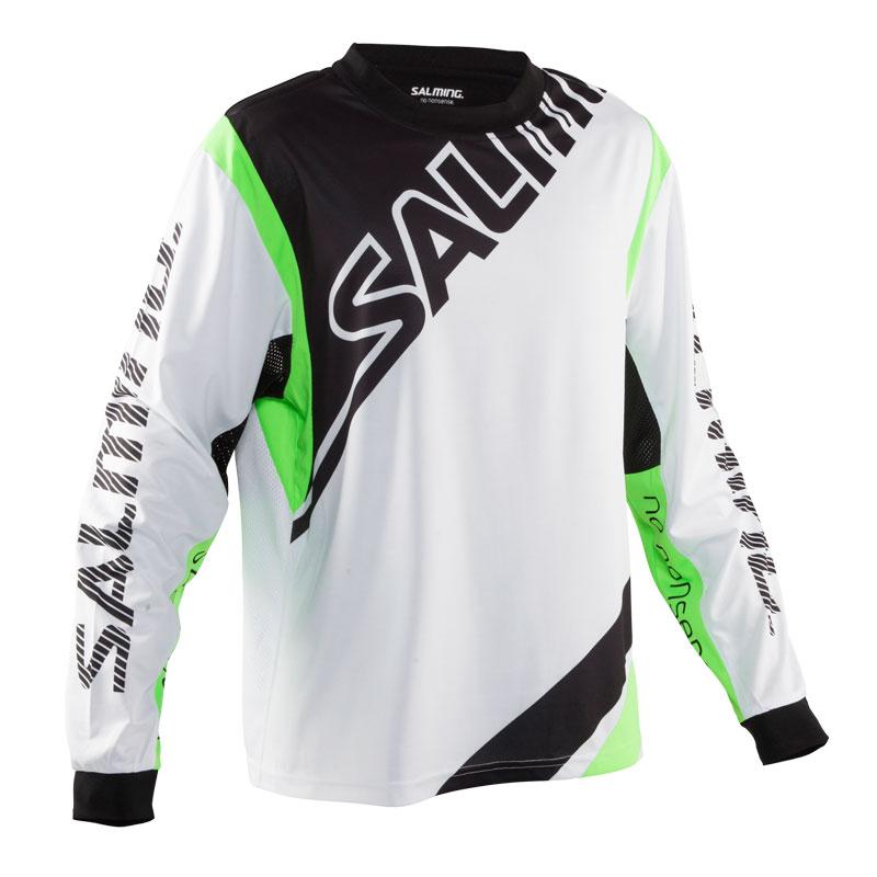 Image of   Salming Phoenix Goalie Longsleeve Senior - Hvid / Gecko Green